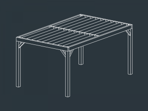 pergola terrasse bois lames inclinées HECATE