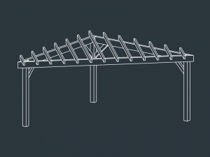 pergola terrasse bois triangulaire HERMES