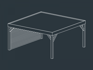 carport bois toit plat indépendant MENELAS