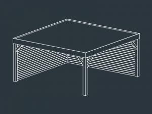 carport bois toit plat independant METIS