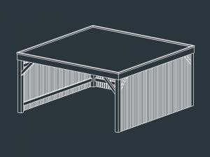 carport bois toit plat independant MINOTAURE