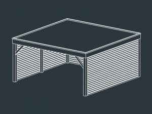 carport bois toit plat independant MUSES